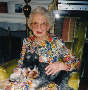 Hazel at home with her dog
