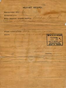 Enlistment Paper (back side)
