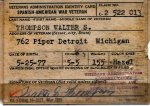 Veteran's Card Walter S. Thompson