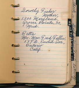 Taken from Blanche Bucher Thompson's  address book