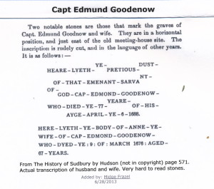 Edmund Goodenow tombstone transcription