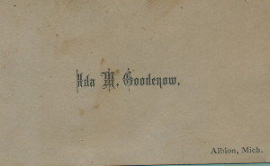 Ida May Goodenow card