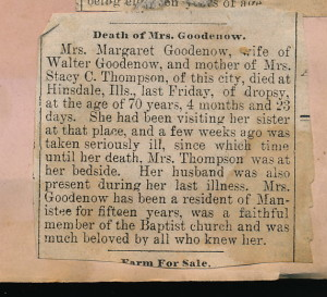 Scrapbook Death of Mrs. Goodenow