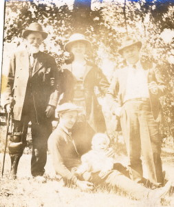 """Some of the Thompson's with Michael Kowalski, Blanche's Grandfather who lived to be almost 104. Notice his """"Peg Leg."""""""